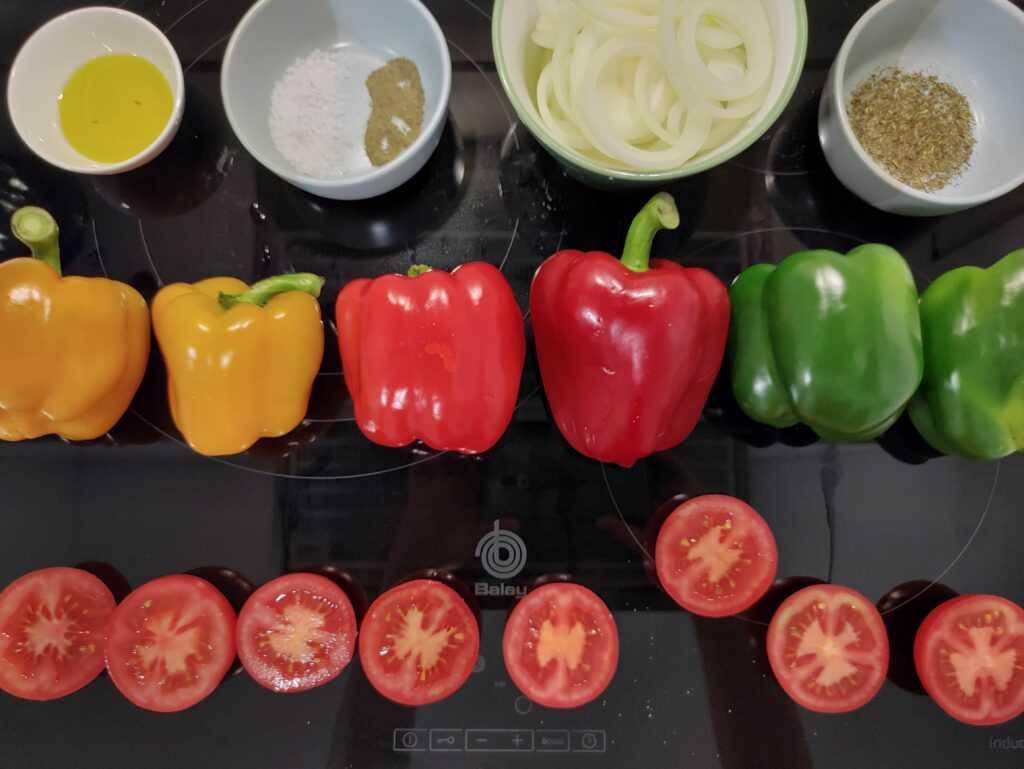 Pimientos asados con tomate